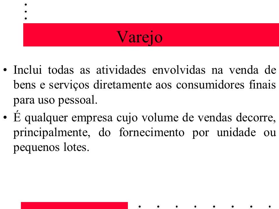 VarejoInclui todas as atividades envolvidas na venda de bens e serviços diretamente aos consumidores finais para uso pessoal.