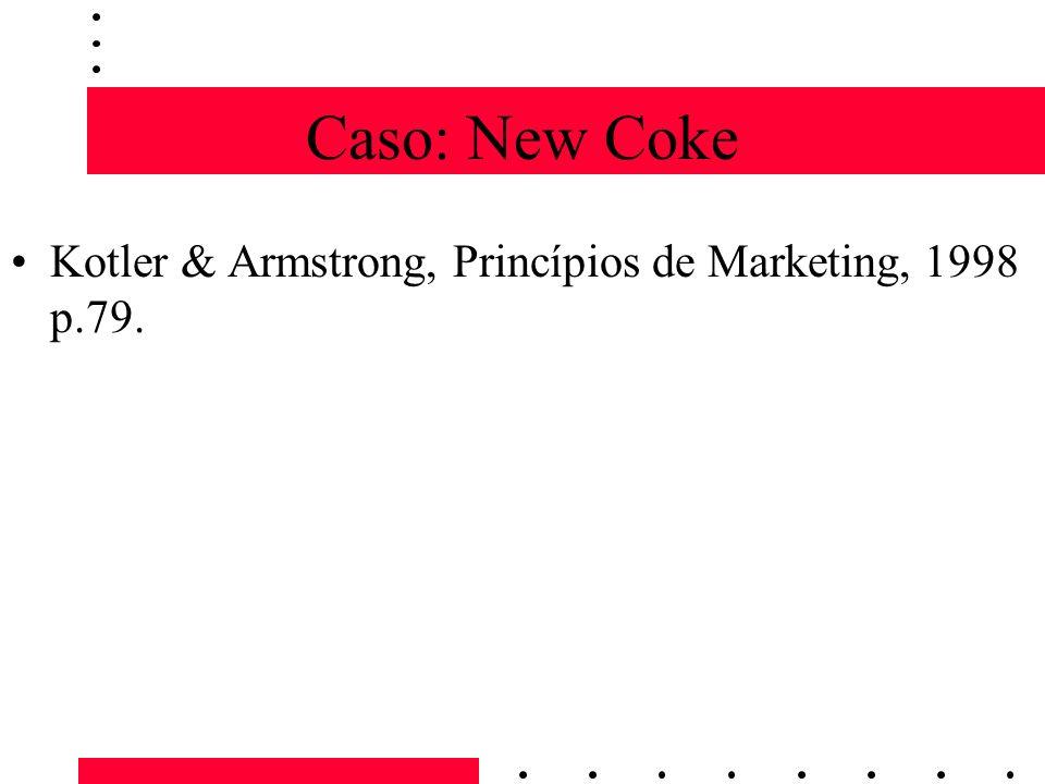 Caso: New Coke Kotler & Armstrong, Princípios de Marketing, 1998 p.79.