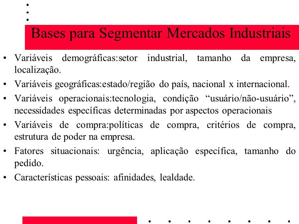 Bases para Segmentar Mercados Industriais