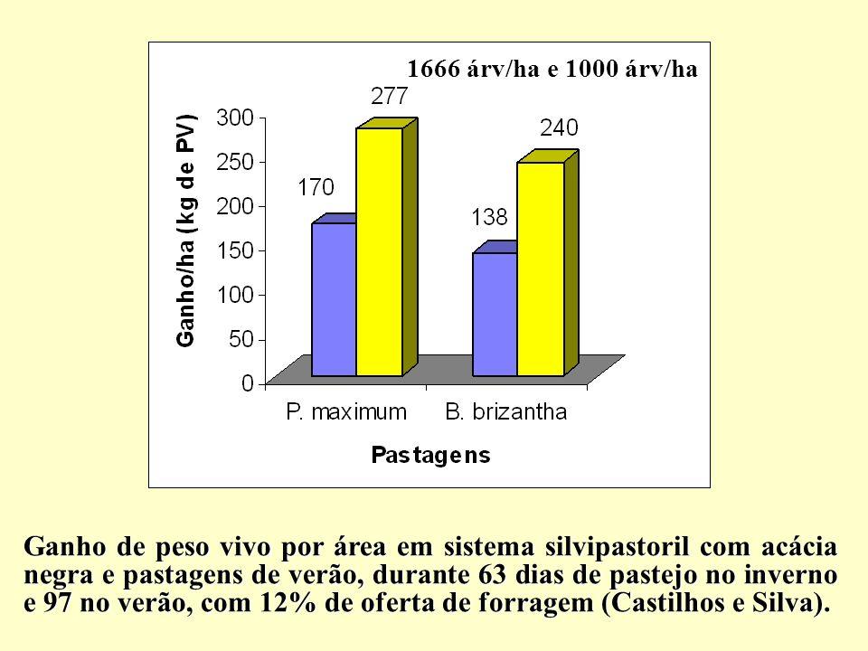 1666 árv/ha e 1000 árv/ha