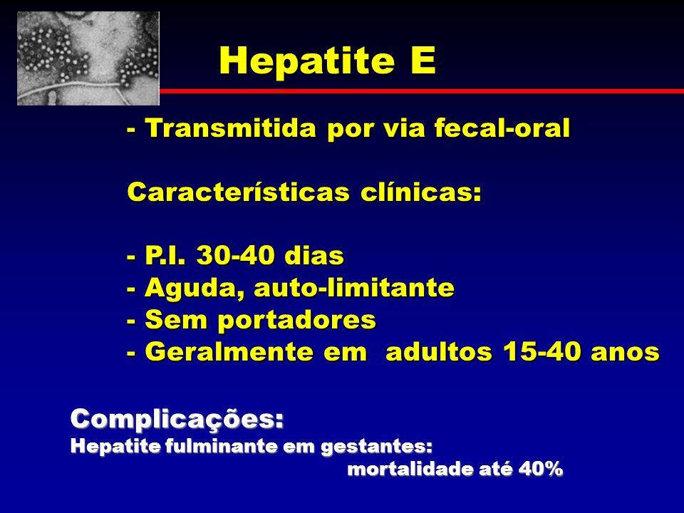 Hepatite E - Transmitida por via fecal-oral Características clínicas: