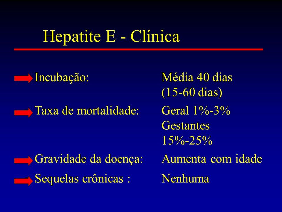 Hepatite E - Clínica Incubação: Média 40 dias (15-60 dias)