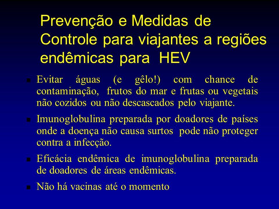 Prevenção e Medidas de Controle para viajantes a regiões endêmicas para HEV