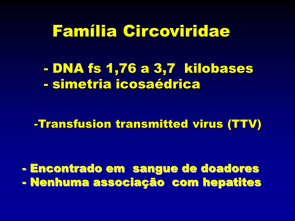 Família Circoviridae - DNA fs 1,76 a 3,7 kilobases