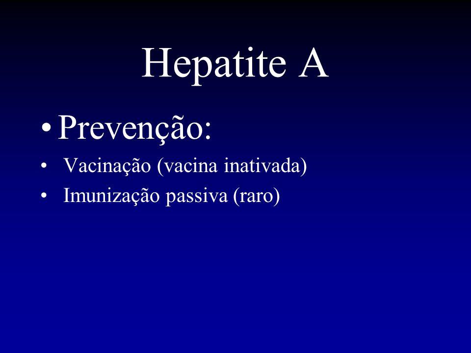 Hepatite A Prevenção: Vacinação (vacina inativada)
