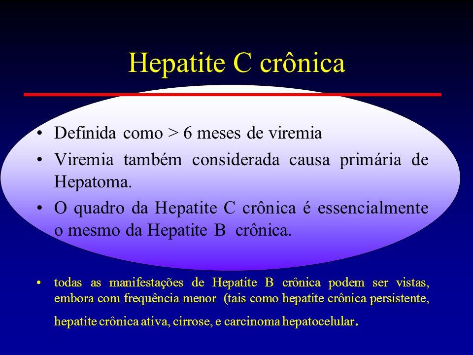 Hepatite C crônica Definida como > 6 meses de viremia