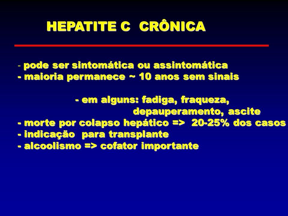 HEPATITE C CRÔNICA - pode ser sintomática ou assintomática