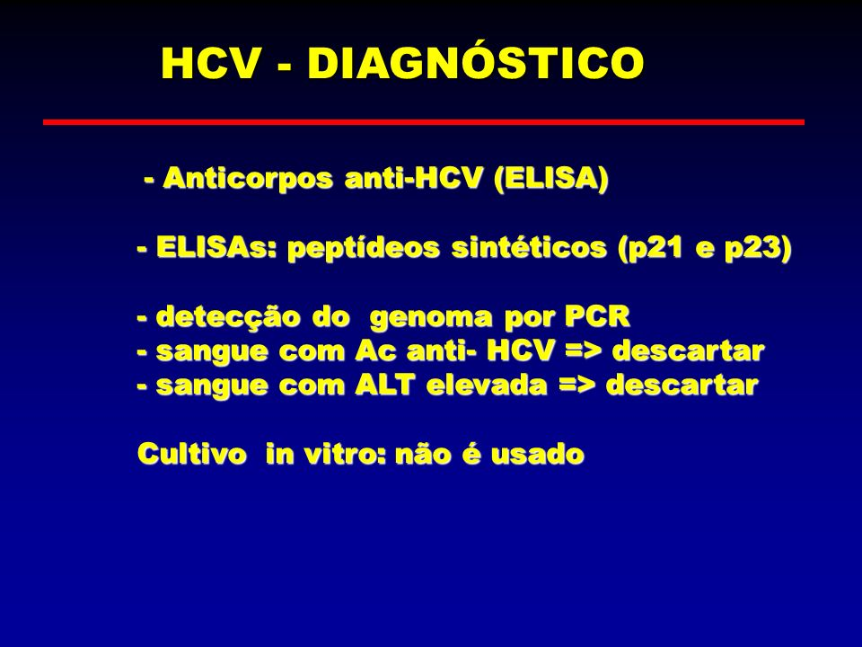 HCV - DIAGNÓSTICO - Anticorpos anti-HCV (ELISA)