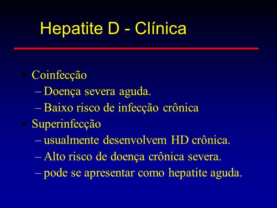 Hepatite D - Clínica Coinfecção Doença severa aguda.