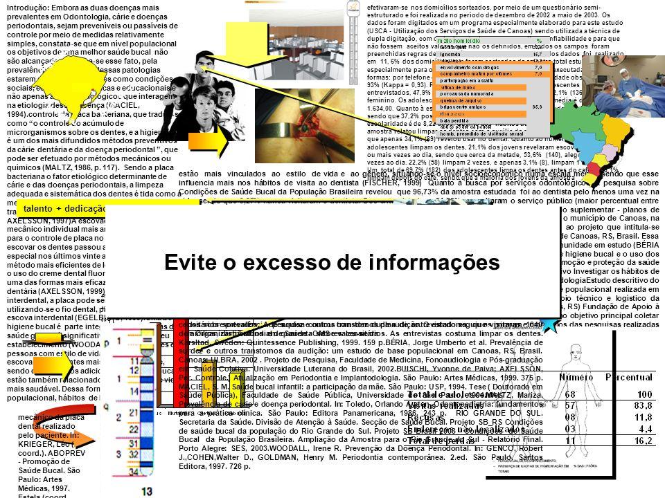 Evite o excesso de informações