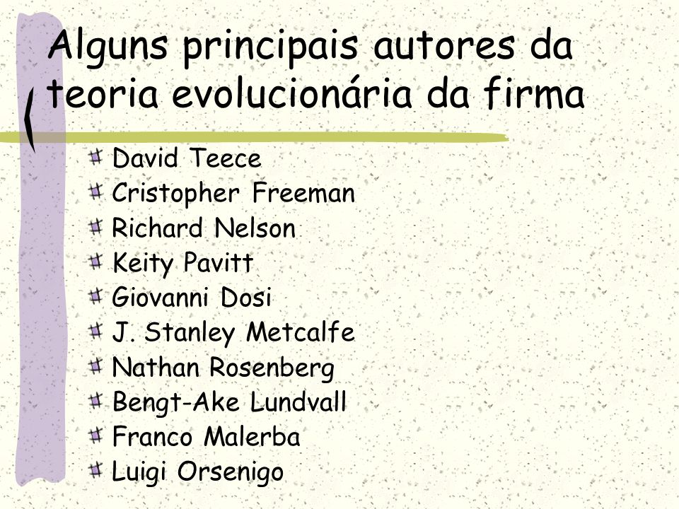 Alguns principais autores da teoria evolucionária da firma