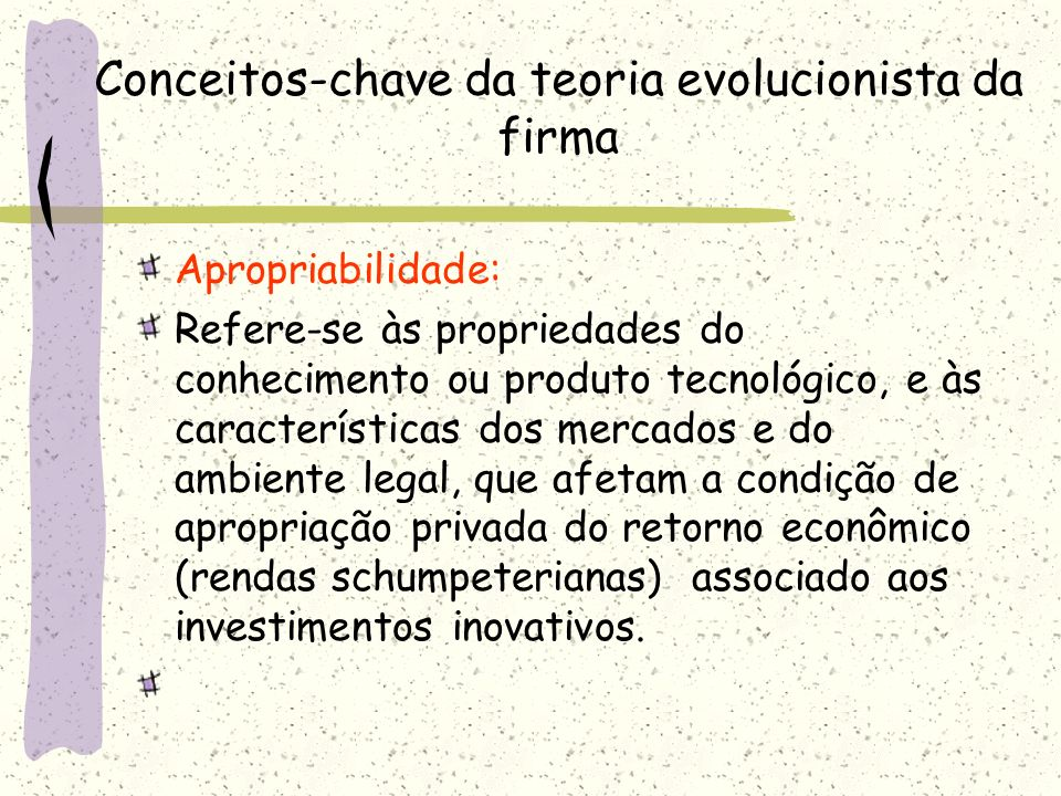 Conceitos-chave da teoria evolucionista da firma
