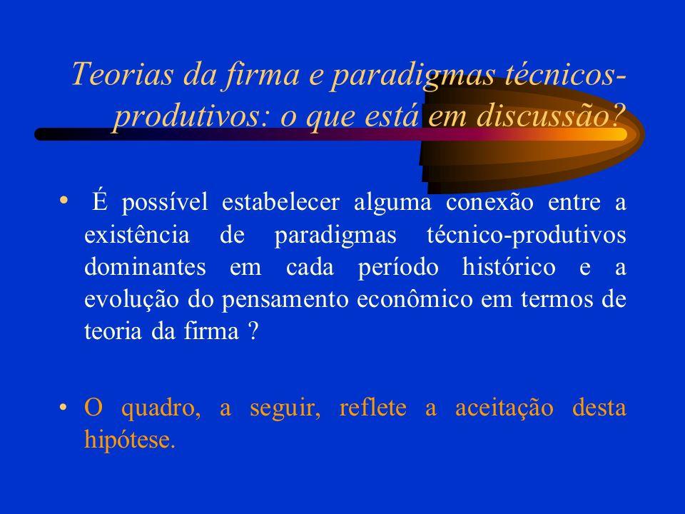 Teorias da firma e paradigmas técnicos-produtivos: o que está em discussão