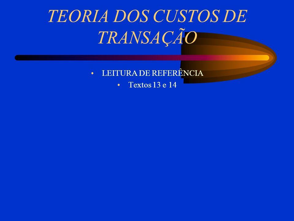 TEORIA DOS CUSTOS DE TRANSAÇÃO