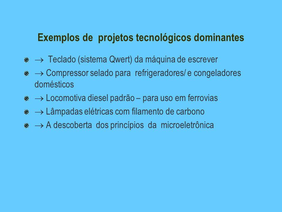 Exemplos de projetos tecnológicos dominantes