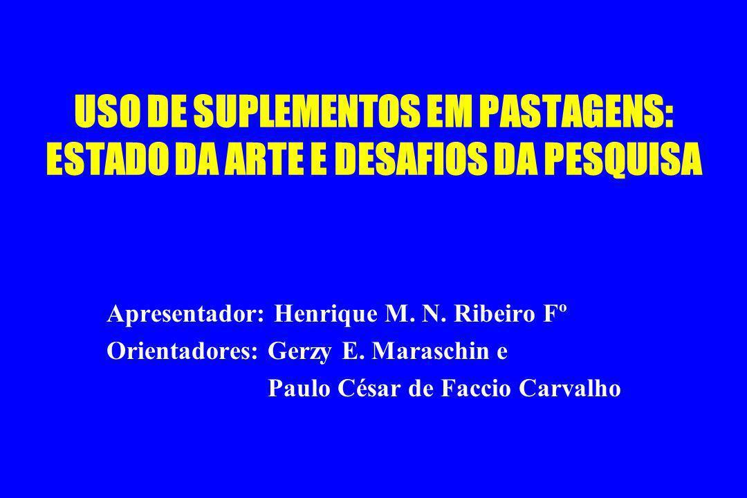 USO DE SUPLEMENTOS EM PASTAGENS: ESTADO DA ARTE E DESAFIOS DA PESQUISA