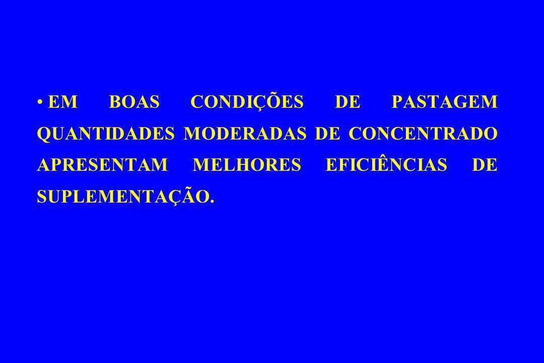 EM BOAS CONDIÇÕES DE PASTAGEM QUANTIDADES MODERADAS DE CONCENTRADO APRESENTAM MELHORES EFICIÊNCIAS DE SUPLEMENTAÇÃO.