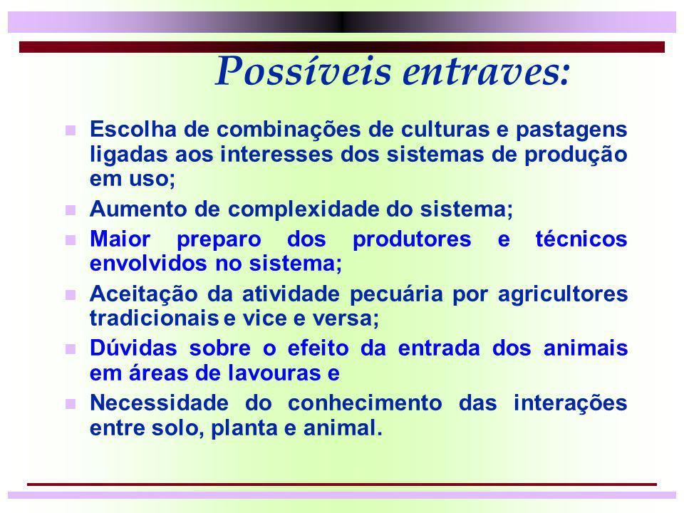 Possíveis entraves: Escolha de combinações de culturas e pastagens ligadas aos interesses dos sistemas de produção em uso;