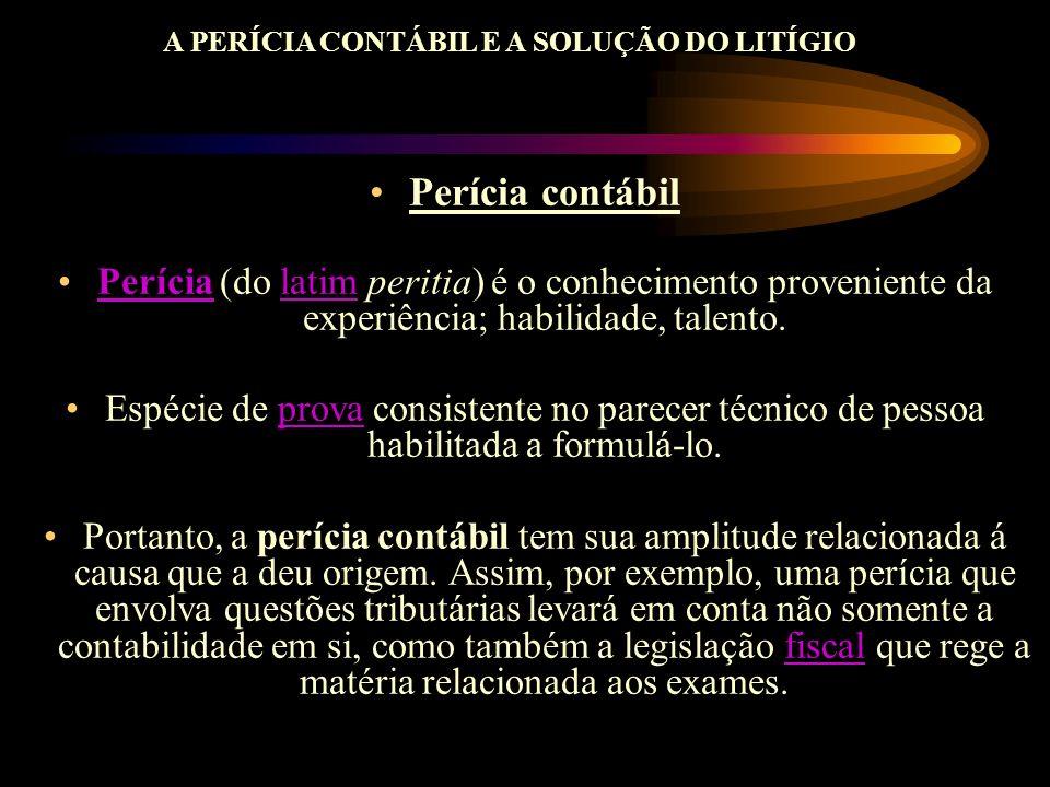 A PERÍCIA CONTÁBIL E A SOLUÇÃO DO LITÍGIO