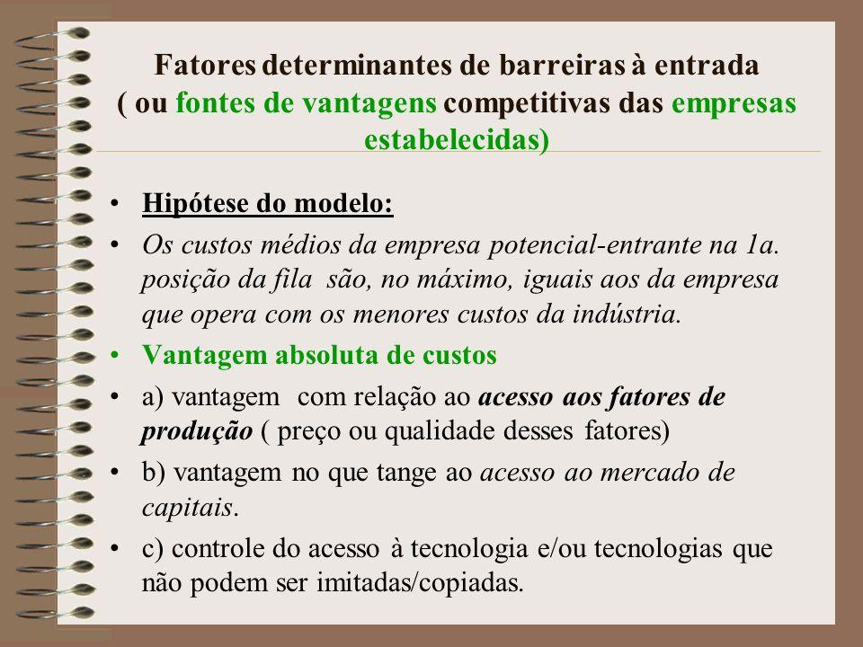 Fatores determinantes de barreiras à entrada ( ou fontes de vantagens competitivas das empresas estabelecidas)