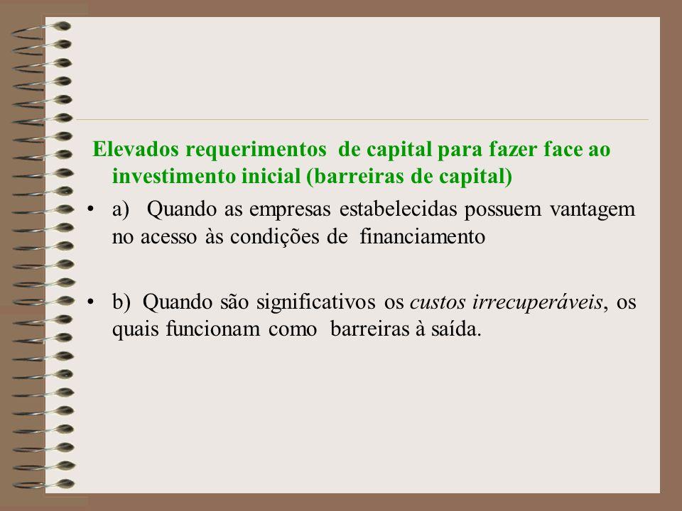 Elevados requerimentos de capital para fazer face ao investimento inicial (barreiras de capital)
