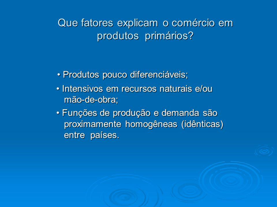 Que fatores explicam o comércio em produtos primários