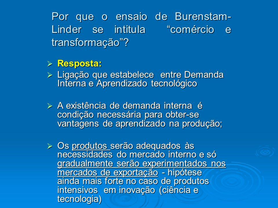 Por que o ensaio de Burenstam-Linder se intitula comércio e transformação
