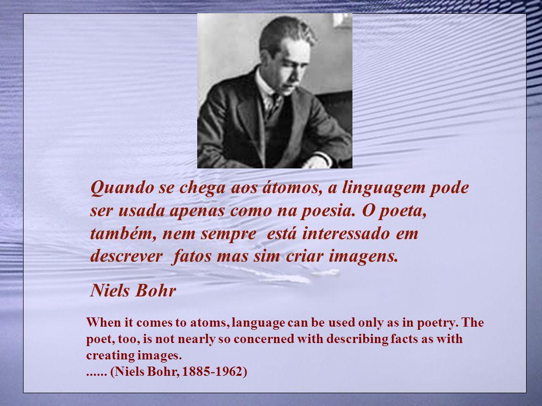 Quando se chega aos átomos, a linguagem pode ser usada apenas como na poesia. O poeta, também, nem sempre está interessado em descrever fatos mas sim criar imagens.