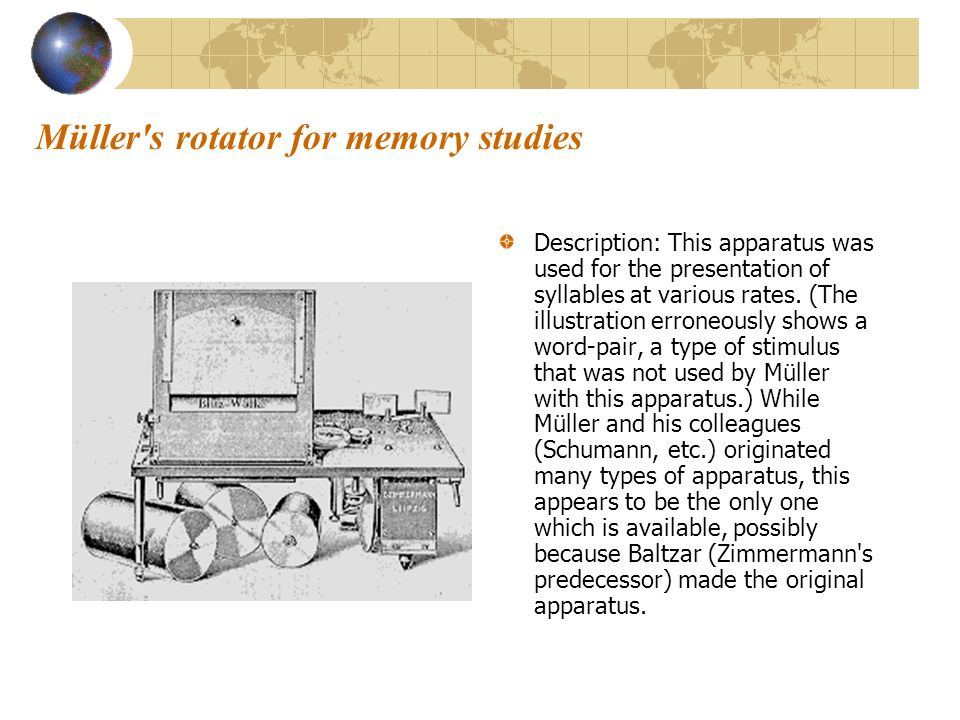 Müller s rotator for memory studies