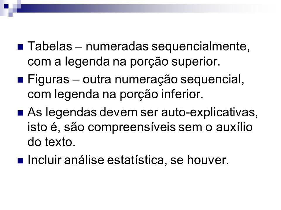 Tabelas – numeradas sequencialmente, com a legenda na porção superior.