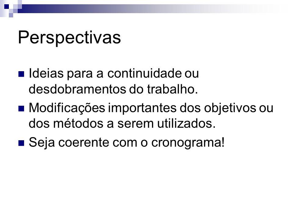 Perspectivas Ideias para a continuidade ou desdobramentos do trabalho.