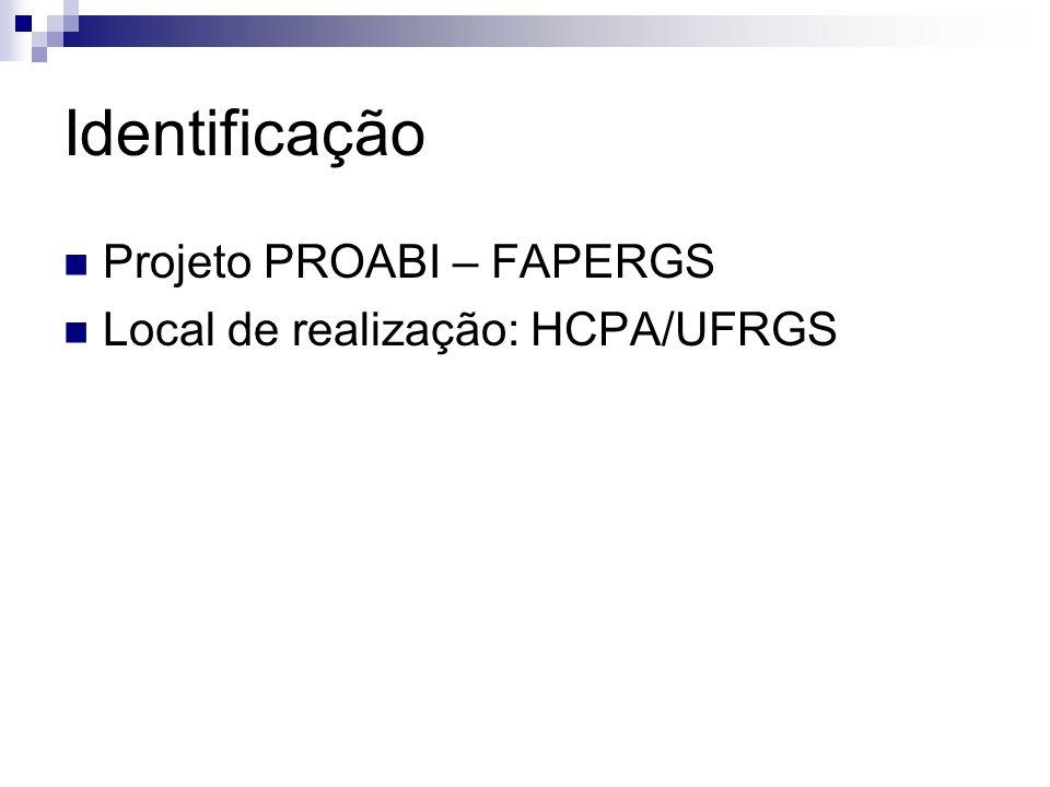 Identificação Projeto PROABI – FAPERGS Local de realização: HCPA/UFRGS