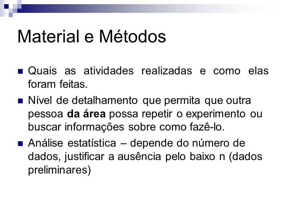 Material e Métodos Quais as atividades realizadas e como elas foram feitas.