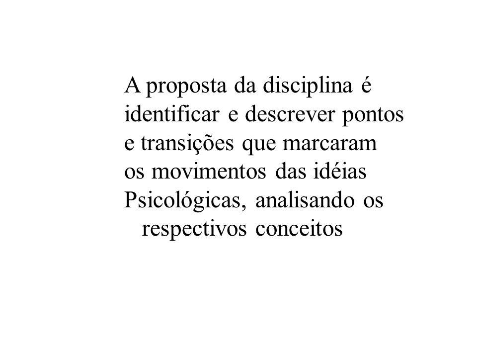 A proposta da disciplina é