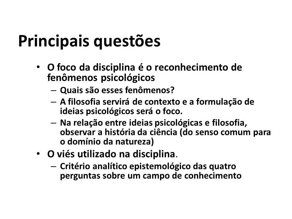 Principais questões O foco da disciplina é o reconhecimento de fenômenos psicológicos. Quais são esses fenômenos