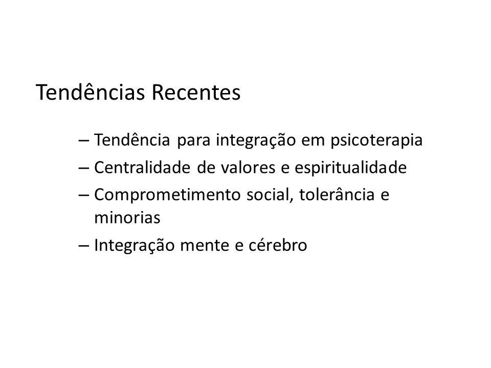 Tendências Recentes Tendência para integração em psicoterapia