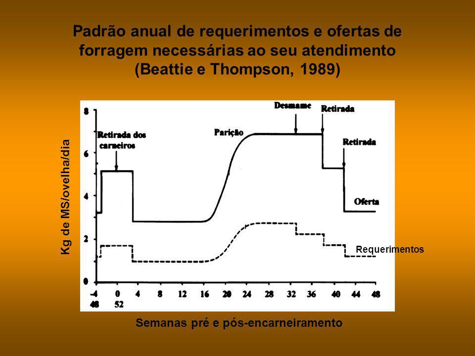 Padrão anual de requerimentos e ofertas de forragem necessárias ao seu atendimento (Beattie e Thompson, 1989)
