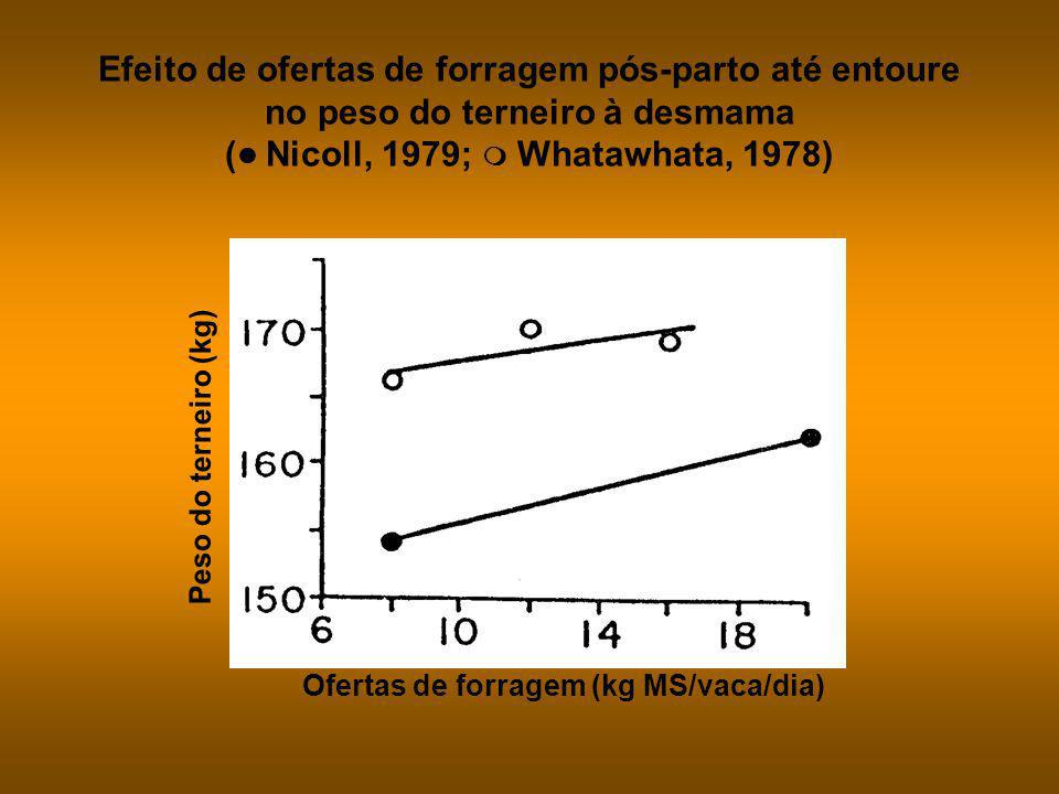 Efeito de ofertas de forragem pós-parto até entoure no peso do terneiro à desmama ( Nicoll, 1979;  Whatawhata, 1978)