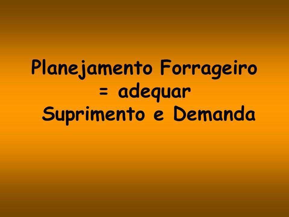 Planejamento Forrageiro = adequar Suprimento e Demanda