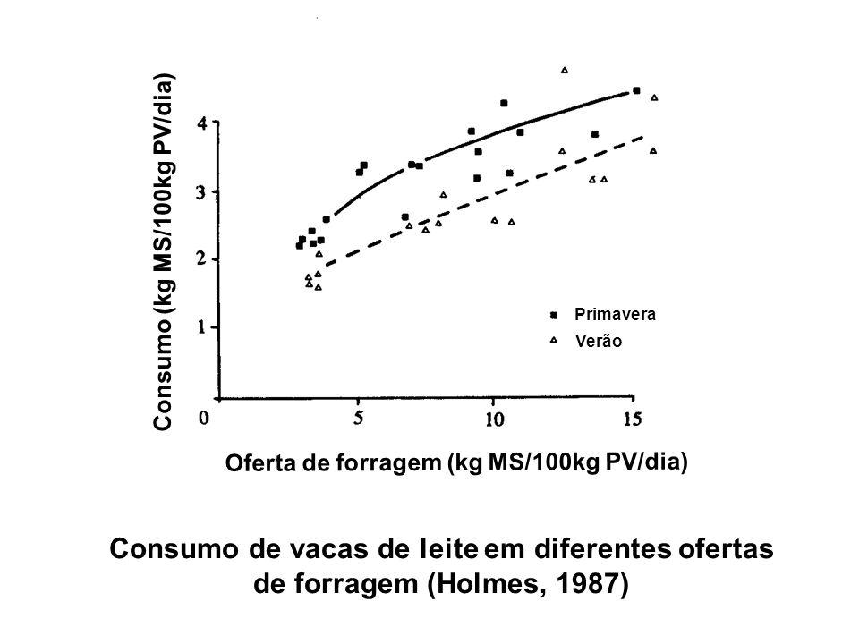 Consumo de vacas de leite em diferentes ofertas
