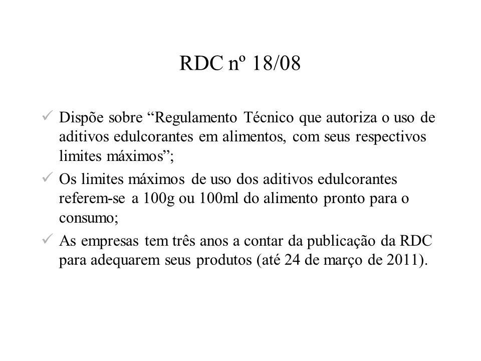 RDC nº 18/08 Dispõe sobre Regulamento Técnico que autoriza o uso de aditivos edulcorantes em alimentos, com seus respectivos limites máximos ;