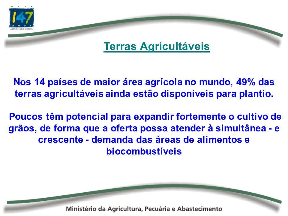 Terras Agricultáveis Nos 14 países de maior área agrícola no mundo, 49% das terras agricultáveis ainda estão disponíveis para plantio.
