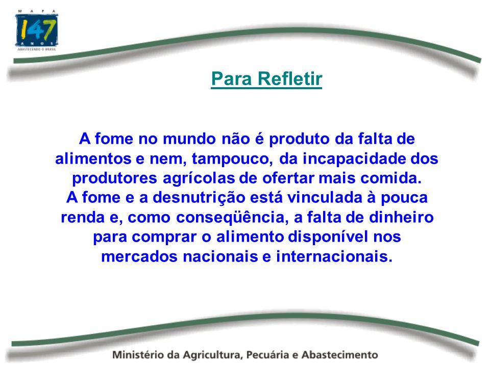 Para RefletirA fome no mundo não é produto da falta de alimentos e nem, tampouco, da incapacidade dos produtores agrícolas de ofertar mais comida.
