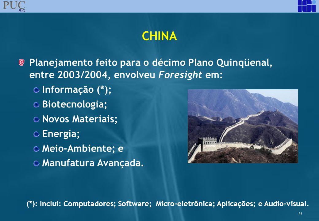 CHINA Planejamento feito para o décimo Plano Quinqüenal, entre 2003/2004, envolveu Foresight em: Informação (*);