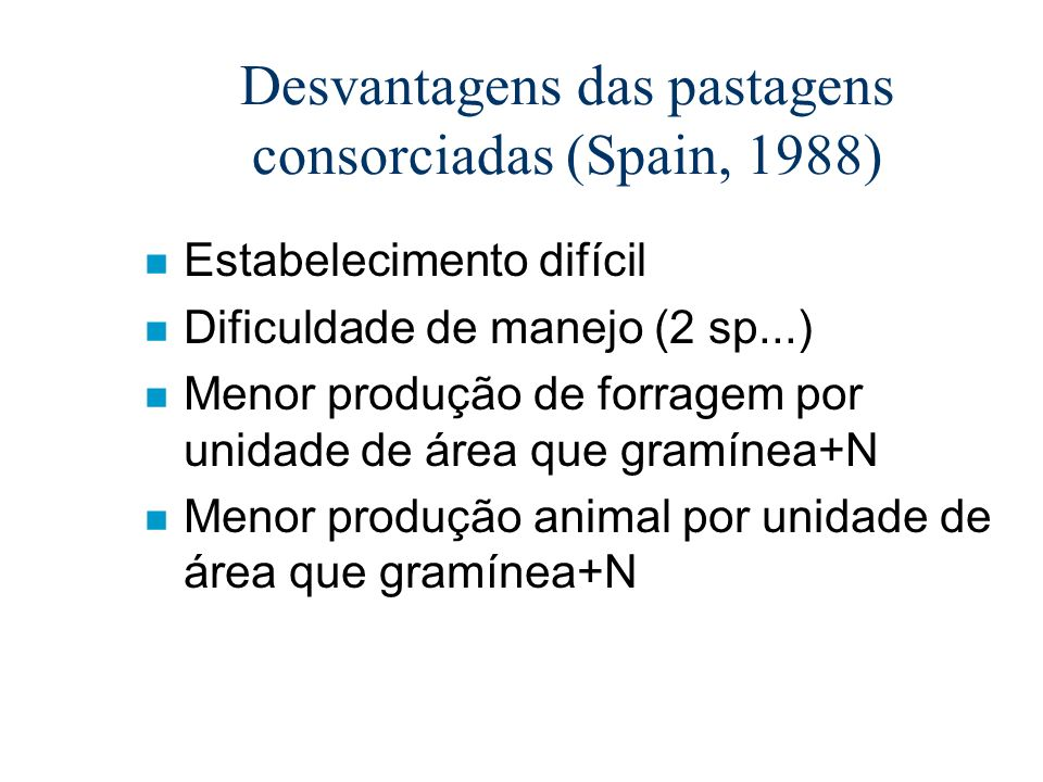 Desvantagens das pastagens consorciadas (Spain, 1988)