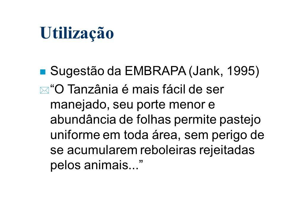 Utilização Sugestão da EMBRAPA (Jank, 1995)