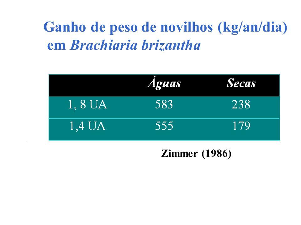Ganho de peso de novilhos (kg/an/dia) em Brachiaria brizantha