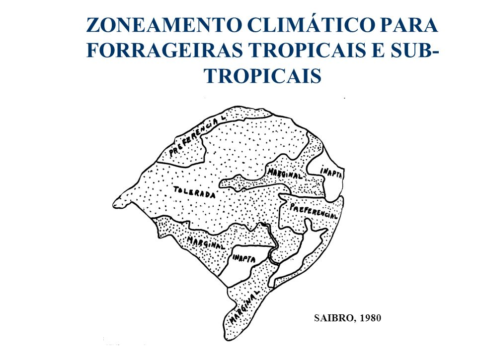 ZONEAMENTO CLIMÁTICO PARA FORRAGEIRAS TROPICAIS E SUB-TROPICAIS