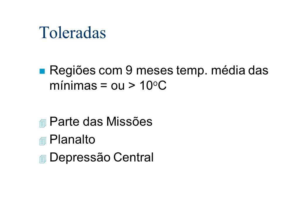Toleradas Regiões com 9 meses temp. média das mínimas = ou > 10oC