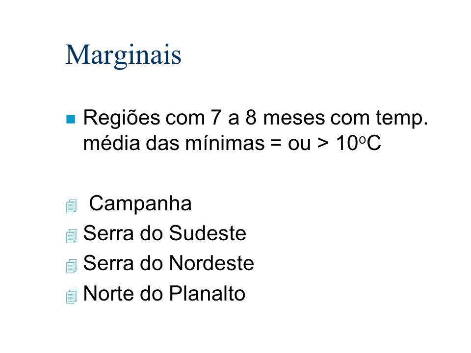 Marginais Regiões com 7 a 8 meses com temp. média das mínimas = ou > 10oC. Campanha. Serra do Sudeste.